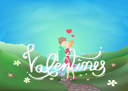 Valentines day, couple kissing characters, calligraphy decoration greeting card, landscape fresh sky scene seasonal holiday abstract background vector illustration Ilustração
