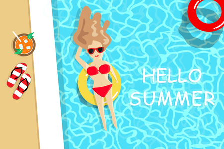 Summer, lady wearing red bikini have a sunbath on swimming pool, seasonal holiday vacation, relax time background vector illustration