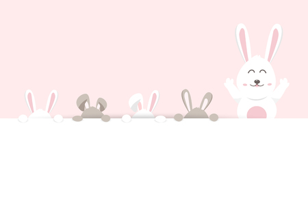 Easter, bunny hide and play, pink pastel greeting card holiday, adorable rabbit, cute cartoon invitation vector illustration Vettoriali