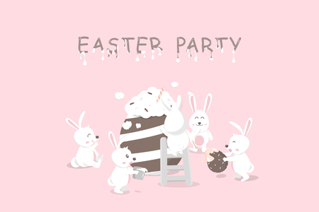 Easter party, liquid melted text, greeting card holiday, chocolate and cream decoration, rabbit with dessert egg fancy, cute bunny cartoon invitation vector illustration