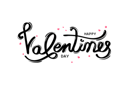 Happy Valentines day, typography greeting card with handwritten calligraphy, decoration, celebration and holiday isolated on white background vector illustration Ilustração