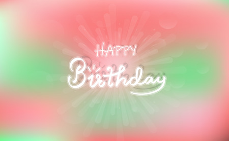 Happy birthday, congratulation card concept, spotlight, beam celebrate, calligraphy neon style abstract background vector illustration
