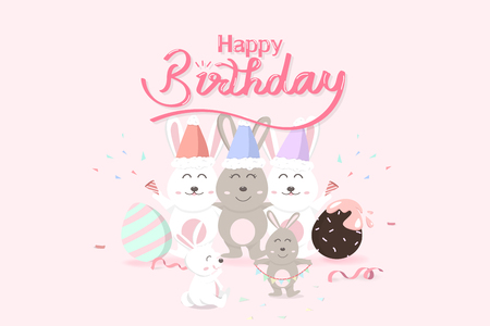 Birthday Easter, happy greeting card holiday, confetti decoration celebrate party poster, adorable rabbit with eggs, cute bunny cartoon invitation vector illustration Vettoriali