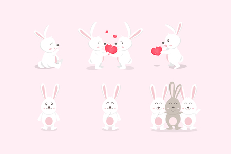Cute rabbit and friends, white bunny, animal kid cartoon characters, Valentines day and friendship, vector illustration Ilustração