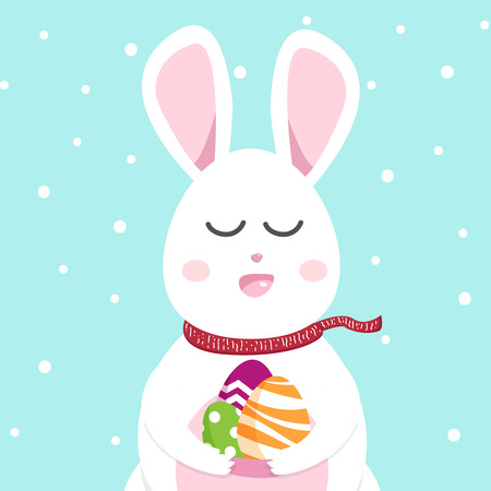 Cute rabbit greeting card, Happy Easter and Christmas in winter, bunny cartoon background seasonal holiday vector illustration