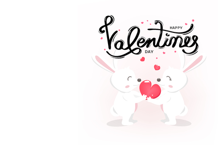 Happy Valentines day, cute white bunny, typography greeting card with handwritten calligraphy, decoration using for lovers, holiday background vector illustration Ilustração