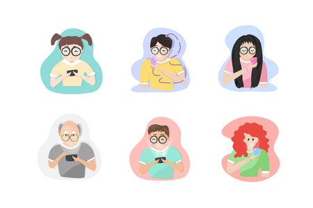 People characters playing mobile, social media addiction lifestyle in all age group, people cartoon characters flat design, vector