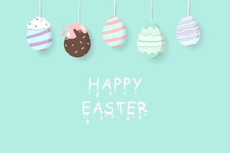 Easter egg, elegant egg fancy hanging, liquid melted text, greeting card holiday, decoration poster invitation vector illustration Banque d'images - 124814159