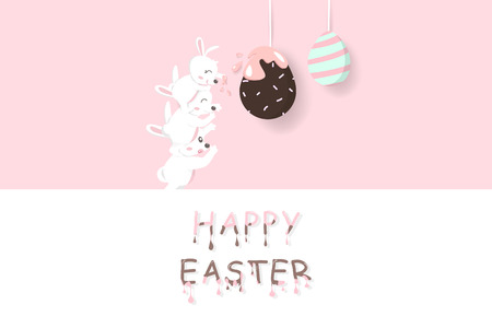 Easter, adorable rabbit carry a baby taste chocolate egg fancy, liquid melted text, greeting card holiday, paper decoration poster, cute bunny cartoon invitation vector illustration  イラスト・ベクター素材