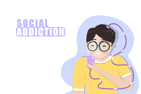 Social addiction, boy playing mobile phone, lifestyle relaxing, teenage student, people cartoon characters flat design, vector