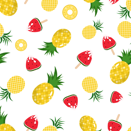 Pineapple and watermelon seamless pattern background texture, fruit juicy in summer season holiday, Hawaii style, vector