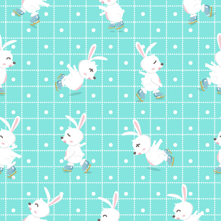 Adorable rabbit ice skating cartoon funny, seamless pattern, characters background texture baby vector illustration Ilustrace