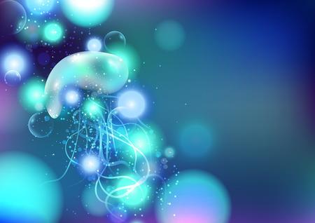 Jellyfish, underwater, deep ocean fantasy glowing, abstract background vector illustration