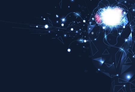 Control del cerebro de inteligencia artificial, ilustración de vector de fondo abstracto de tecnología futurista digital
