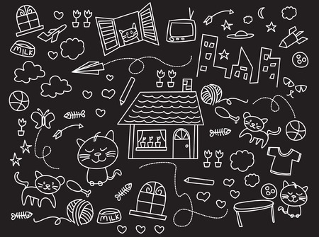 kids illustration black and white Vector