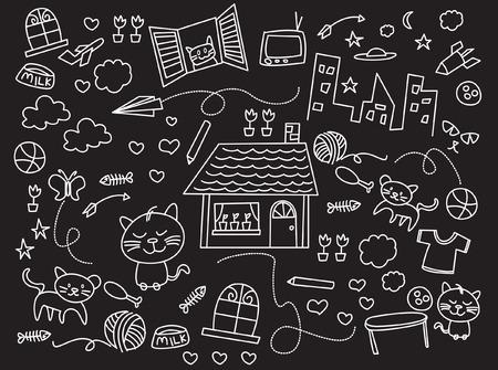 kids illustration black and white Vector