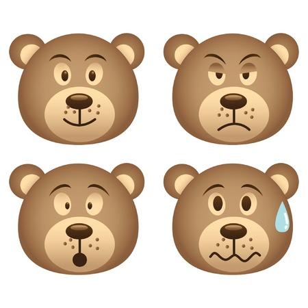 angry bear: bear face icon set