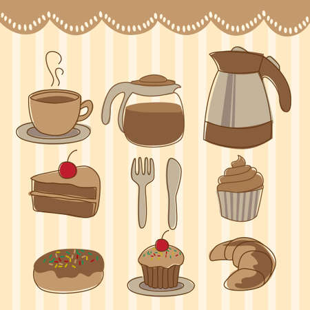 cup cakes: food and drick icon set