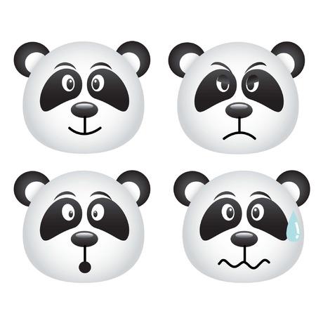 panda face icon set Vector