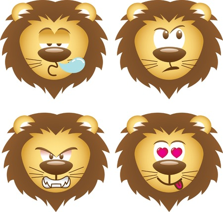 curiosity: lion expressions Illustration