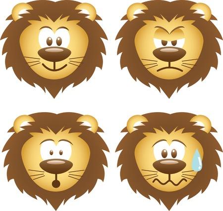 feeling bad: lion expressions Illustration