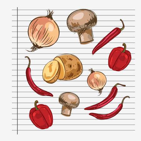 hongo: Ilustraci�n de ingredientes en un trozo de papel