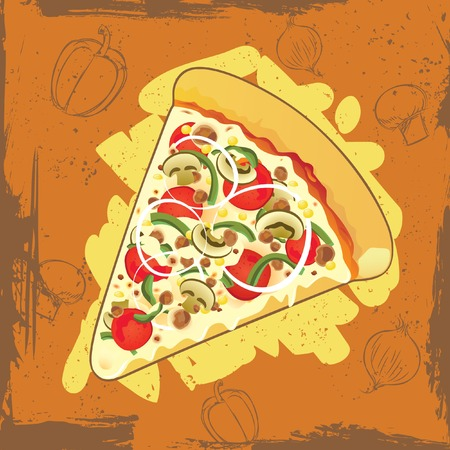 pizza on grunge background Stock Vector - 7462502