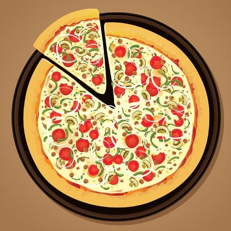 rebanada de pizza: Pizza en una sart�n  Vectores