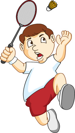 badminton: little kid playing badminton Illustration