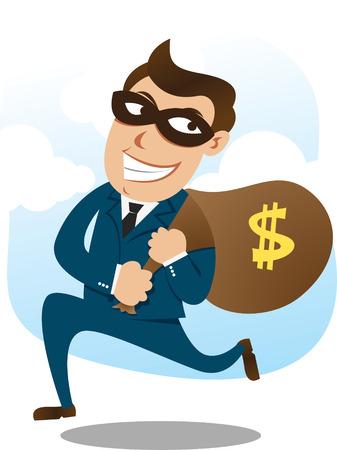 burglar: rapinatore che trasportano un sacco di soldi  Vettoriali
