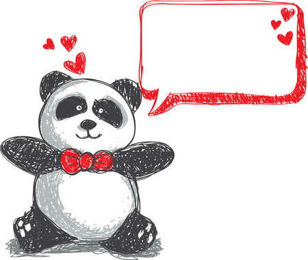 oso panda: Panda doodle, adecuado para San Valent�n Vectores