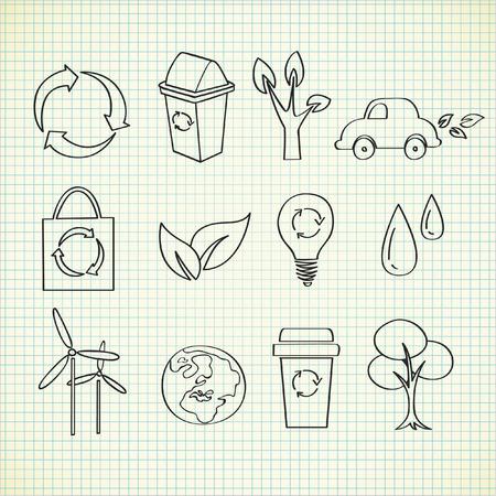 rubbish dump: ecology doodle Illustration