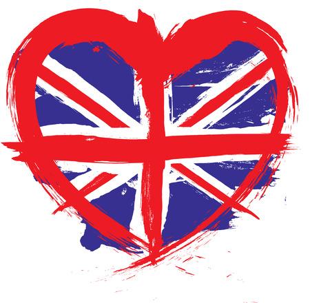 british flag: heart shape grunge flag
