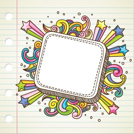 cartoon frame: banner scoppio doodle Vettoriali