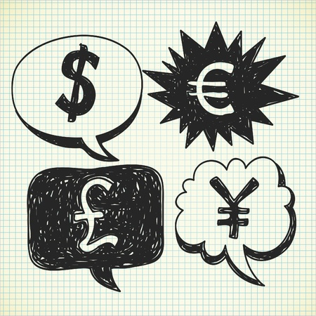 currency doodle Vector