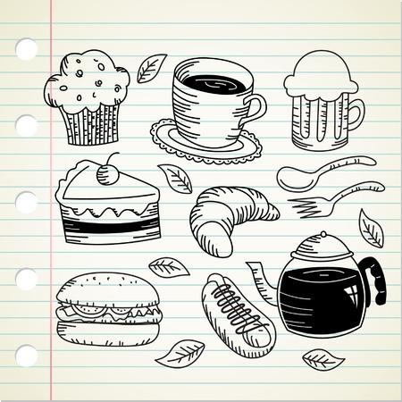 étel és ital doodle