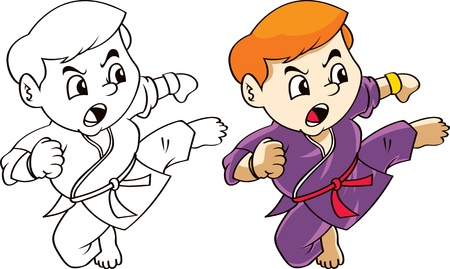 martial art cartoon Vector