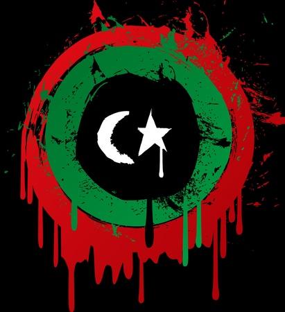 war paint: Bandera de Libia grunge