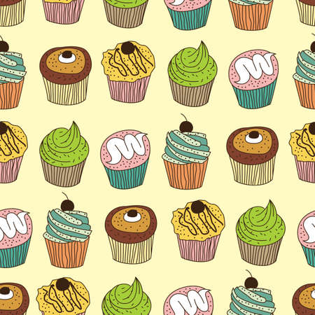 seamless muffin pattern Vector