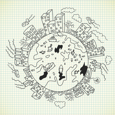 doodle inquinamento Vettoriali