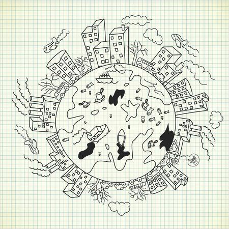 pollution doodle Vektoros illusztráció