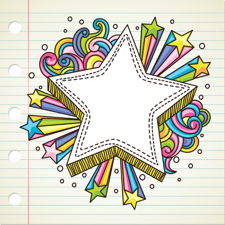 cartoon star: star burst doodle