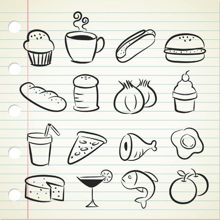 pane e vino: icona abbozzato alimentare Vettoriali