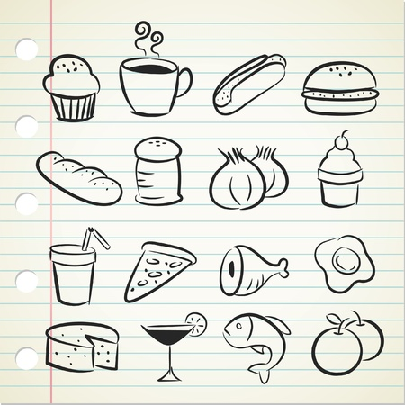 food and beverages: sketchy food icon Illustration