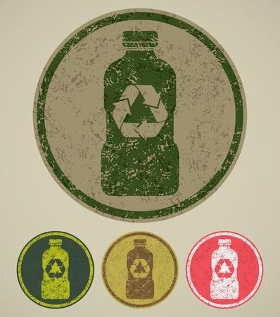 reciclar basura: grunge reciclar signo Vectores