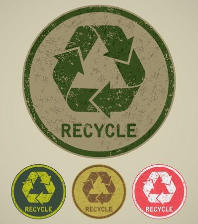 afvalbak: grunge recyclen teken Stock Illustratie
