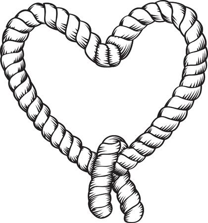 forma de corazón atado la cuerda