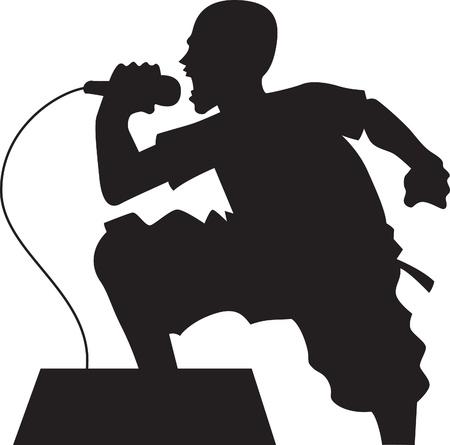 rock singer silhouette Stock Vector - 10195904