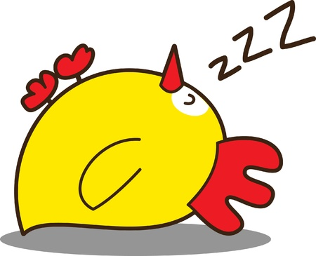 animales durmiendo: chicken little Linda Vectores