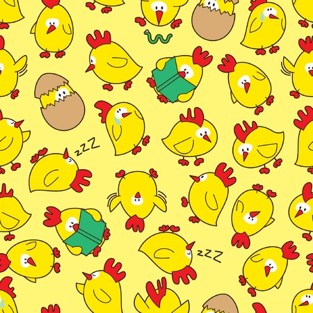 seamless chicken pattern Vector